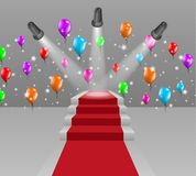 Stairs with red carpet and three lights Stock Photo