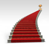Stairs and red carpet. On white Stock Image