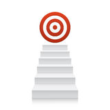 Stairs with red target icon isolated on white Royalty Free Stock Photos