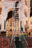 Stairs for restoration of arch inside Cathedral Royalty Free Stock Images
