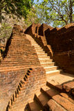 Stairs and ruins of Sigiriya Lion's rock fortress Royalty Free Stock Photos