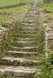 Stairs at Saint-Michel tumulus. Stairway at a megalithic grave mound named Saint-Michel tumulus near Carnac, a commune in the Morbihan department of Brittany Stock Photo