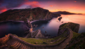 Stairs in San juan de Gaztelugatxe in Basque Country Stock Photo
