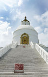 The stairs of Shanti stupa Royalty Free Stock Image