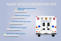 Stairs showing five steps of heart attack prevention. And ambulance on the right part of the vector stock illustration