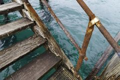 Stairs on the side of Port Noarlunga Jetty for snorkling, scuba stock photos