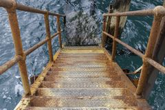 Stairs on the side of Port Noarlunga Jetty for snorkling, scuba stock photography