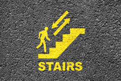 Stairs Sign On The Asphalt. New Painted yellow Stair Sign On The Asphalt Royalty Free Stock Images