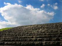 Stairs and Sky. Stairs on a field / up to the sky stock photo