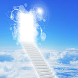 Stairs in sky with clouds and sun Stock Images