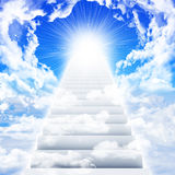 Stairs in sky with clouds and sun Stock Image