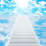 Stairs in sky with clouds and sun Stock Photography