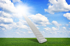 Stairs in sky with green grass, clouds and sun Stock Photos