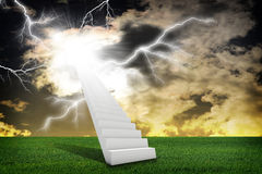 Stairs in sky with green grass and thunderstorm Stock Photos