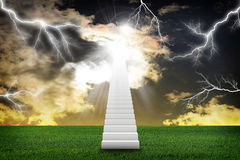 Stairs in sky with green grass and thunderstorm. Concept background Stock Photos