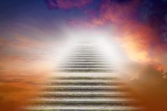 Stairs in sky .  Religion for the person Royalty Free Stock Photography