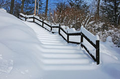 Stairs in the Snow. The front stairs after a hard winter snow storm Stock Images
