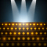 Stairs with Spotlights to Illuminated Stage. Royalty Free Stock Photos