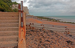 Stairs at St Margarets at Cliffe Gravel Beach at White Cliffs Stock Photo