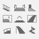 Stairs or stairway icons. Different types of stairs or stairway icons. Vector set of logo elements or symbols Stock Photos