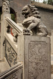 Stairs with stone lion in Chinese park Royalty Free Stock Images