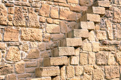 Stairs in Stone Wall Stock Image