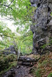 Stairs of stones in Valley of River Bode. Stairs of stones at hiking path Harzer Hexenstieg Stock Photo