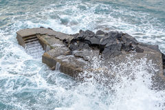Stairs for swimming in the sea, dock with stairs, Madeira Island, Funchal.  Royalty Free Stock Photos