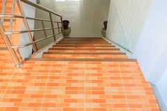 Stairs tile orange walkway down. select focus with shallow depth of field.  stock images