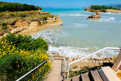 Stairs to the beach on Sidari, Canal d'amour Royalty Free Stock Photo