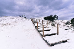 Stairs to the beach stormy winter landscape Stock Photos