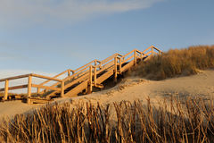 Stairs to the Beach of Sylt. Wooden stairs on the sand dunes of Sylt stock image