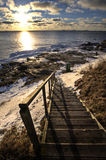 Stairs to beach at winter Stock Photos