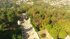 Stairs to Bom Jesus do Monte, Braga, Portugal aerial view stock footage