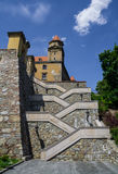 Stairs to Bratislava castle. Blue cloudy sky Royalty Free Stock Photography