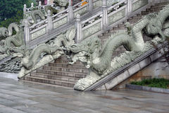 Stairs to a buddhist temple in Jiuhuashan, Anhui Province, China Stock Photo