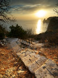Stairs to calm. Stairs to sea. Landscape composition Royalty Free Stock Images