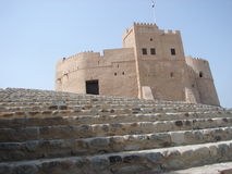 Stairs to Castle. Fujairah Castle in the United Arab Emirates.  about 400 years old Royalty Free Stock Images