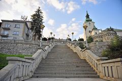 Stairs to the cathedral, Ruzomberok old town. Slovakia stock photo