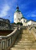 Stairs to the cathedral of Ruzomberok town. Slovakia royalty free stock photos