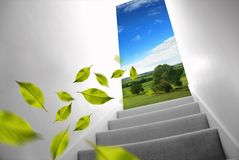 Stairs to Change. Stairs leading to the fresh outdoors Royalty Free Stock Photography