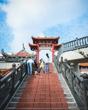 Stairs to Cloud Temple in Genting. Some sets of stairs of adventure before reaching to the real attraction at the Chin Siew Temple in Genting Highland malaysia stock image