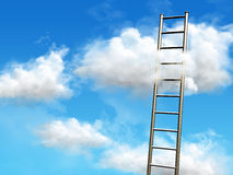 Stairs to the clouds. Climb the ladder and reach for the clouds. Digital illustration Royalty Free Stock Images