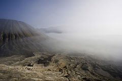 Stairs to the crater of Bromo volcano stock photography