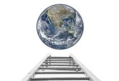 Stairs to the Earth concept. Elements of this image furnished by NASA royalty free stock photos