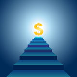 Stairs to Financial Success. Vector illustration of stairs leading to golden dollar sign Stock Images