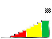Stairs to the finish, colored with checkered flag. On white Stock Photos