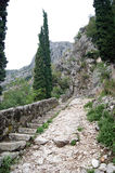Stairs to the fortress. Stairs along the ramparts to the main strengthening (Kotor, Montenegro Stock Photos