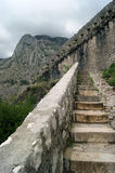Stairs to the fortress. Old stairs to the fortress in Kotor (Montenegro Royalty Free Stock Photo