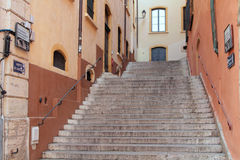 Stairs to Fourviere in Vieux-Lyon Royalty Free Stock Photography
